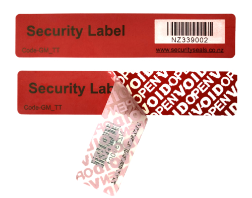TT Security Label 100mm x 20mm – Red